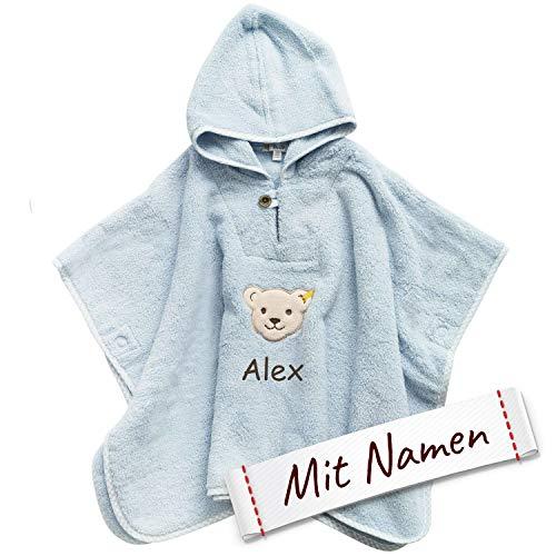 Steiff Poncho bestickt mit Namen für Baby & Kinder, Blau, Junge Badetuch, Bade-Poncho, Kapuzenbadetuch, Handtuch mit Kapuze, Mädchen & Junge (Unisex) Bademantel, 100% Baumwolle, Blau