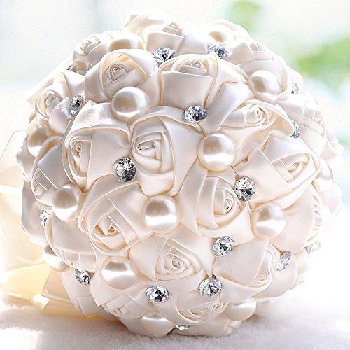 Fouriding Bouquet da Sposa Nozze Fiori Artificiali Strass Perlato Decorazione di Nozze Nastro(Bianco Crema)