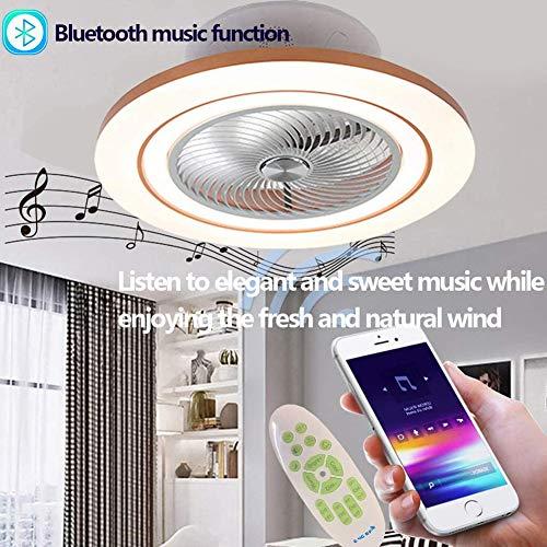 WREEE Deckenventilator Mit Beleuchtung Fan Deckenleuchte Mit Bluetooth Lautsprecher 3 Einstellbare Lichter Windgeschwindigkeit Lampen Dimmbar Mit Fernbedienung Für Schlafzimmer Wohnzimmer Esszimmer