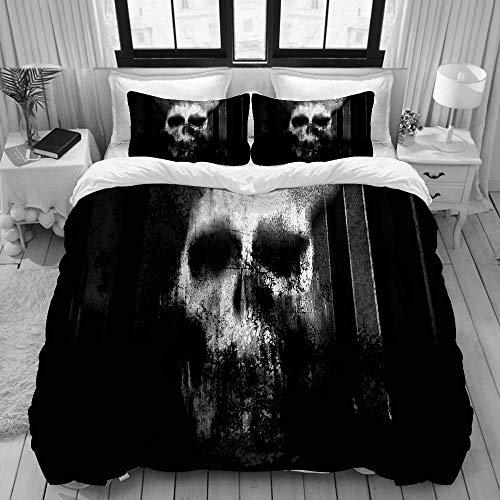 Funda nórdica, diseño de póster de película y concepto de Halloween de terror en blanco y negro de calavera de terror, juego de ropa de cama, juego de fundas de edredón de poliéster de lujo ultra cómo