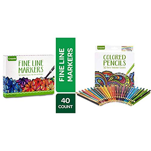 Crayola Fine Line Markers Adult Coloring Set, Stocking Stuffers Gift Age 12+ - 40 Count & Colored Pencils, Pre-Sharpened, Adult Coloring, 50 Count