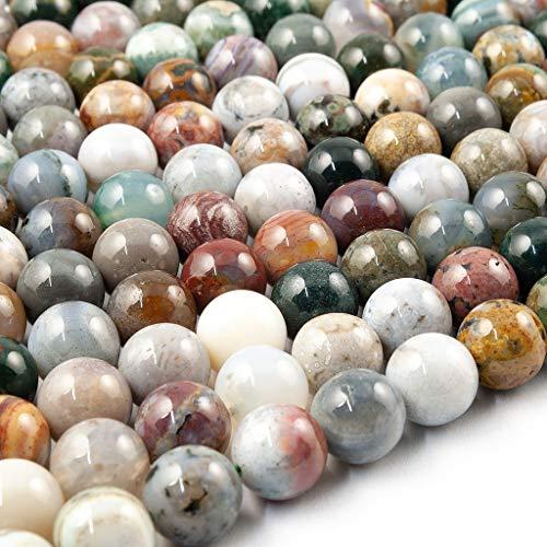 Beads Ok, Abalorios Cuentas Piedra Semipreciosa Ágata Océano Naturales Esferas Bola Redonda 6mm Cerca de 38cm un Tira, Vendido por Tira. 6mm Round Natural Ocean Agate Gemstone Beads