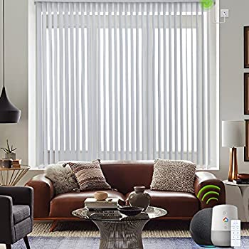 Yoolax Motorized Vertical Blinds Works with Alexa Light Filtering Smart Window Blind Custom Size Privacy Light Control Blackout Electric Blinds with Remote Control for Home Office  Greyish White