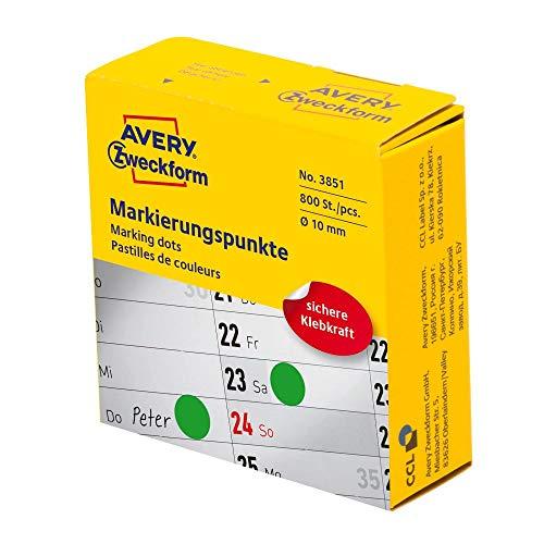 AVERY Zweckform 3851 selbstklebende Markierungspunkte 800 Stück (Ø10mm, Klebepunkte auf Rolle im Spender, Punktaufkleber zur Farbcodierung, runde Aufkleber für Kalender, Planer und zum Basteln) grün
