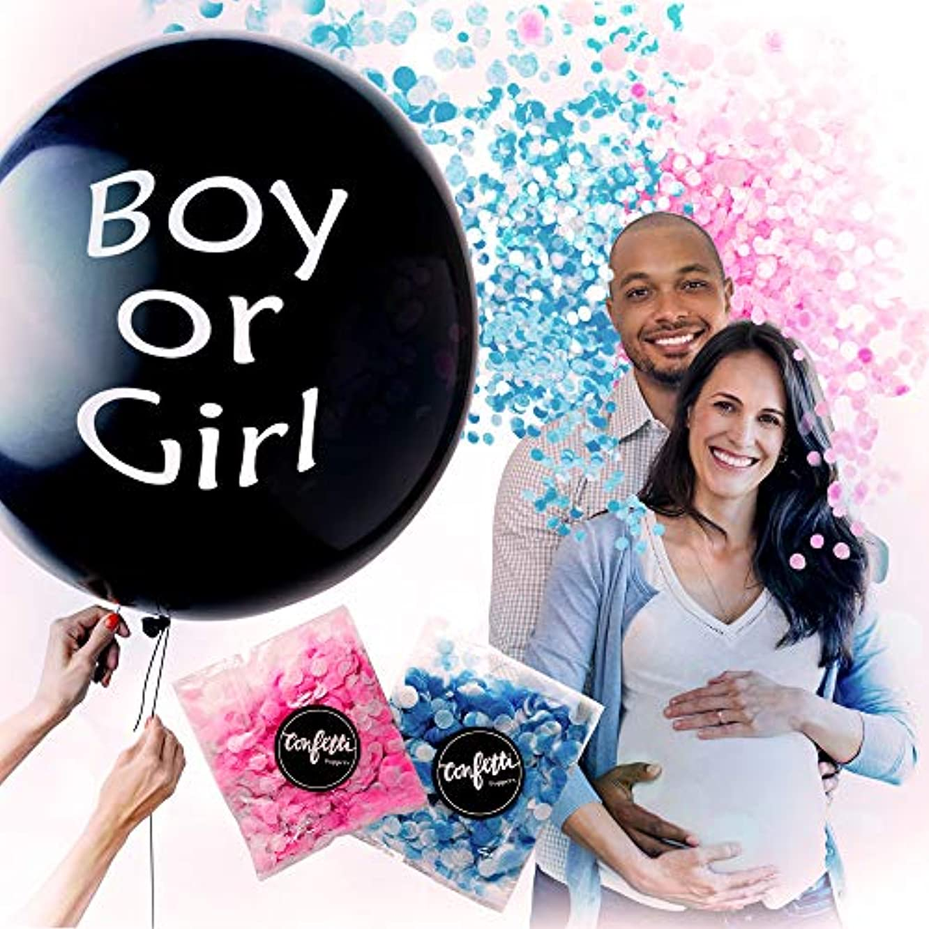 Gender Reveal Confetti Balloon – Pink and Blue Confetti Balloon – Balloon for Baby Shower – Giant Black Balloon for Gender Reveal