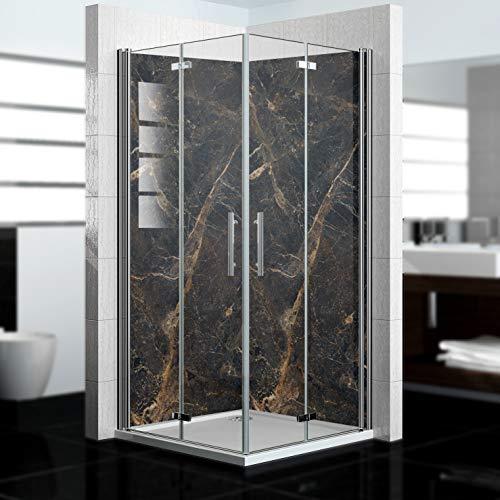 dedeco Alu Eck-Duschrückwand mit Marmor Motiv V2-2 x 90x200 cm - Perfekt als Badrückwand zum Fliesenersatz, passend für viele Bäder als Dekorwand aus hochwertigem Aluminium - Made in Germany