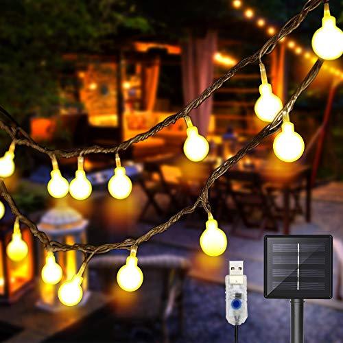 DeepDream 11 Meter 60 LED Lichterkette Außen Solar/USB wiederaufladbar,8 Modus Wasserdicht Außen/Innen für Garten Hochzeit, Balkon, Haus, Weihnachten Deko, Warmweiß