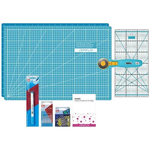 SEMPLIX Patchwork Starter Set mit Schneideunterlage (A3), Rollschneider Maxi, Lineal + PRYM Nähnadeln, Stecknadeln & Trickmarker (türkis/Petrol)