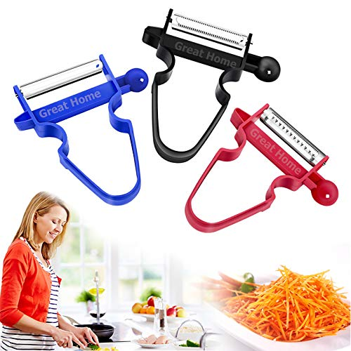 Magic Trio Peelers Set of 3 Potato Fruits Vegetables Peeler Tool Cabbage Stainless Steel Shredder Slicer Christmas New Year Gift(3Pcs/Set)