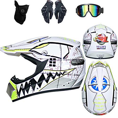 Casque de Moto pour Enfant Motocross Cross D. O. T Homologué Casque Cross-Country VTT Jeune Adulte Adulte Casque Cross avec Gants/Lunettes/Masque (blanc,M)