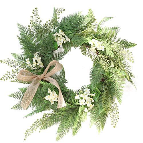 SMLJFO Corona de hojas verdes, corona de puerta, corona de plástico, decoración de puerta delantera con cinta para el hogar, ventana, pared, boda, decoración interior y exterior, 50 cm