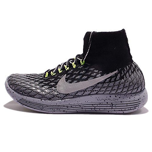Nike Women's Lunarepic Flyknit Shield Running Shoes, Black/Silver, Size 11 (M) US