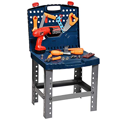 Playkidz - Juego de Juguetes portátiles para niños y niñas, Incluye Taladro de Trabajo eléctrico, Estuche de Viaje y más de 45 Herramientas y Accesorios para Construir un Banco de Trabajo Realista