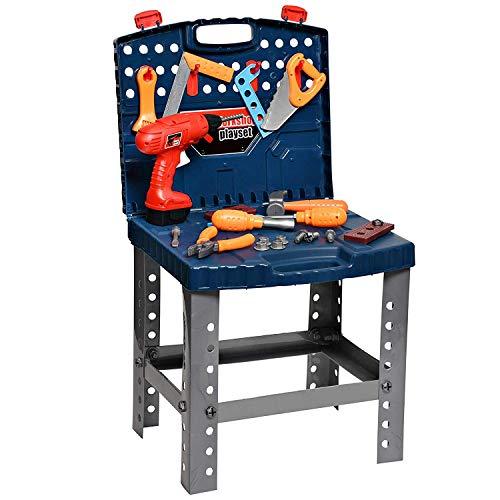 Playkidz Construction Workbench for Kids 45+ Tools