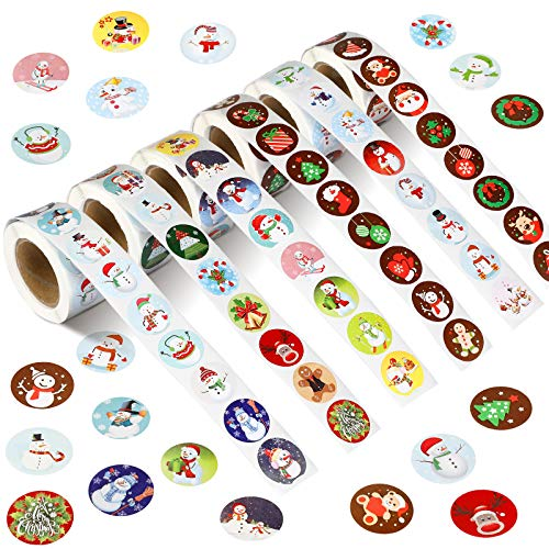 6 Rolls 3000 Pieces Christmas Stickers Round Adhesive Labels Xmas Decorative Stickers Christmas Stickers Labels Roll 1 Inch 48 Designs for Cards Envelopes Boxes