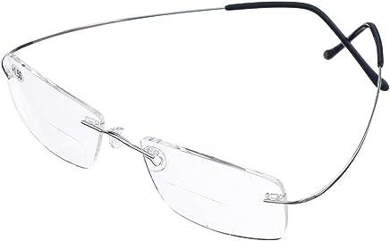 2829d1d20e5 Bi Tao Super Light 100% Titanium Bifocal Reading Glasses Men Women Fashion  Rimless Reading Eyeglasses