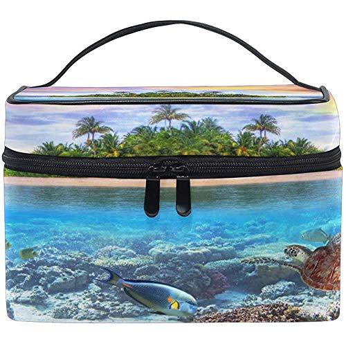 Grand sac de maquillage organisateur plage tropicale océan tortue de mer sac à cosmétiques sac de rangement de toilette poche zippée poche sac de brosse de voyage