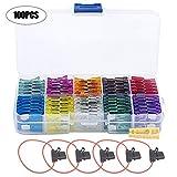 iRoundy Kit de 100 piezas Fusibles de Coche Mezclado + 5pcs Portafusibles para Automóvil Camion Moto o Barco (2A 3A 5A 7.5A 10A 15A 20A 25A 30A 35A)