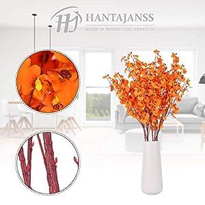 hantajanss artificial orchids flowers, 8 pcs orchids silk fake flowers in bulk flowers artificial for indoor outdoor wedding home office decoration (orange) silk flower arrangements