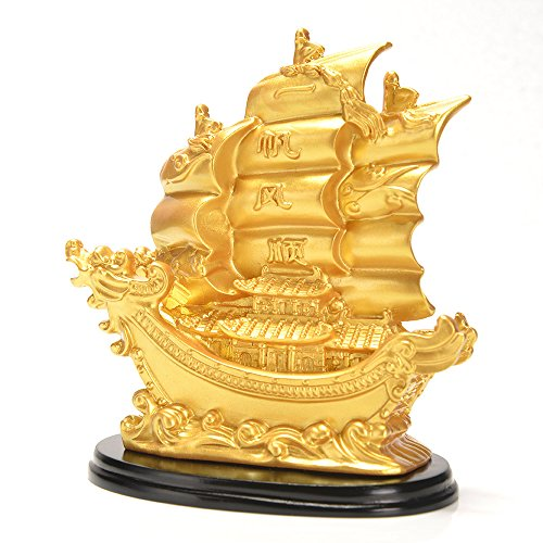 JSY Sailing Ship Statue Feng Shui Decor for Fortune, Wealth and Prosperity - Decorative Gold Wealth Sailing Boat D