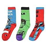 Marvel Kinder 3 Pack Mittellange Crew Socken Junior Freizeit Marvel Gr&schüler 33-39
