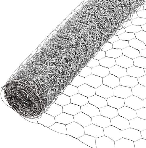 MOCCO 24' x 50' Galvanized Hexagonal Fence Poultry Net Netting | 1' Garden Protect Stainless Steel Roll | Reusable Protection Metal Mesh Fencing (24' High x 50 Feet Long x 1' Hole Size)