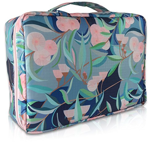 Kath & Cath Portable Cosmetic Shaving Toiletry Beauty Make Up Bag Pouch Organizer Storage with Removable Divider and Mirror for Travel, Business, Holiday and Bathroom Household (Blue)