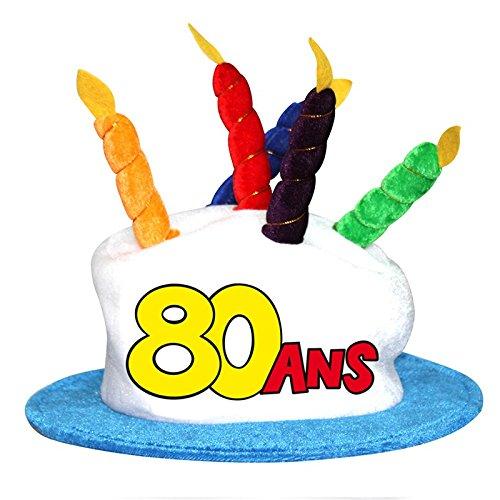 Chapeau gâteau anniversaire 80 ans