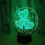lxc Lámparas de Mesa en Forma de corazón LED Colorido Degradado 3D lámpara de...