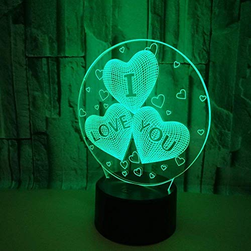 SYyshyin Lámparas de Mesa en Forma de corazón LED Colorido Degradado 3D lámpara de Mesa estéreo Control Remoto táctil USB Luz de Noche Escritorio Mesita de Noche Decoración Creativa Adornos de Regalo