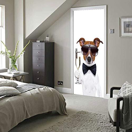 3D Türaufkleber Netter Hund Und Wein Türtapete Wandbild Selbstklebend Vinyl Wasserdicht Abnehmbar Türfolie Türposter Fototapete Schlafzimmer Hauptdekoration 88X200Cm