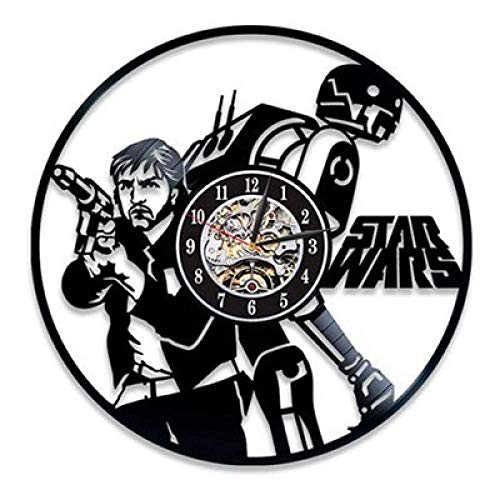 SKYTY Reloj De Pared De Vinilo-Reloj De Pared De Star Wars-Reloj De Pared con Registro De Vinilo Retro Reloj De Decoración De Regalo-Sin Luz Led