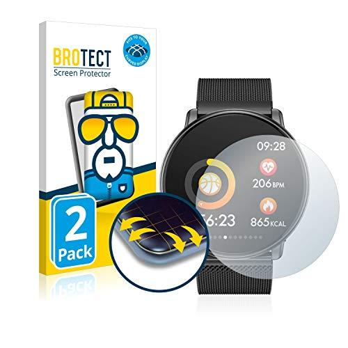 BROTECT Full-Cover Schutzfolie kompatibel mit Azorex Smartwatch Q88 (2 Stück) - Full-Screen Displayschutz-Folie, 3D Curved, Kristall-Klar