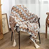 Bandkos Bohemia Throw Blanket Knitted Blankets with Tassels Boho Acrylic Textured Woven Throw for Sofa Couch Bed Solid Woolen Decor 50x60 inches