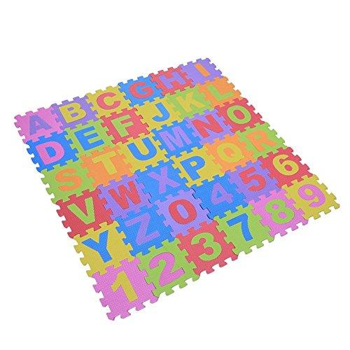 Alfombra de juegos plegable de espuma para bebé, juego educativo compuesto por letras (A – Z) y números (0 – 9) 36 piezas / bolsa