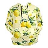 Moda impresión 3D fruta amarillo limón patrón unisex suéter fresco sudaderas con bolsillo canguro para hombres y mujeres