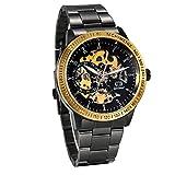 JewelryWe Reloj Mecánico Automático para Hombre Reloj Negro Acero Inoxidable, Grande Reloj de Pulsera Hueco Transparente, Vidrio Azul