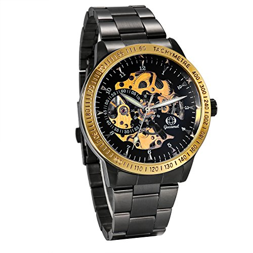 JewelryWe Herren Automatik Armbanduhr Schwarz Edelstahl Armband Skelett Uhr Automatikuhr