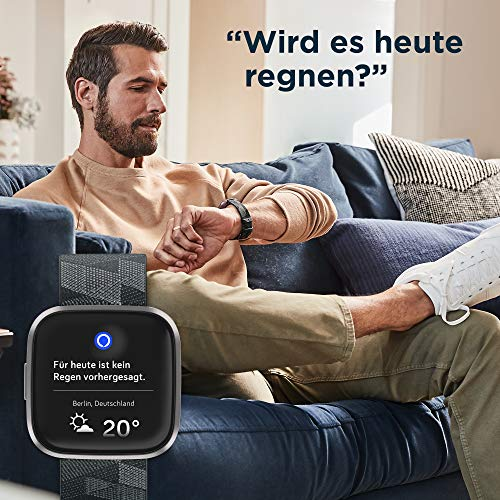 Fitbit Versa 2, Special Edition, Gesundheits- und Fitness-Smartwatch mit Alexa Sprachsteuerung, Schlafindex und Musikfunktion, inklusive Zusatzarmband in Olive, rauchgrau