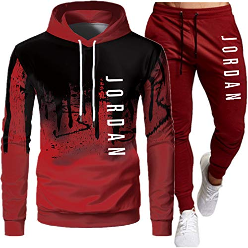 Chándal con Capucha para Hombre, Jordania Chándal Moda para Hombres + Pantalones 2 Piezas Set Sweet Sudadera TIK TOK Pullover Extranjero Camisetas Red-B-L