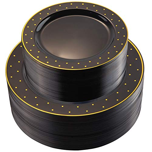 """I00000 102Pcs Plastic Black Gold Plates, 51 Dinner Plates 10.25"""" & 51 Dessert Plates 7.5"""" with Gold Dot, Premium Heavy Duty Gold Disposable Plates for Birthday Party/Weddings"""