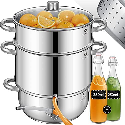 KESSER® Dampfentsafter 15 L Edelstahl Entsafter Saftpresse Inkl. 2X Bügelflasche Obst und Gemüse - für alle Herdarten geeignet auch Induktion| Ø 26cm |...