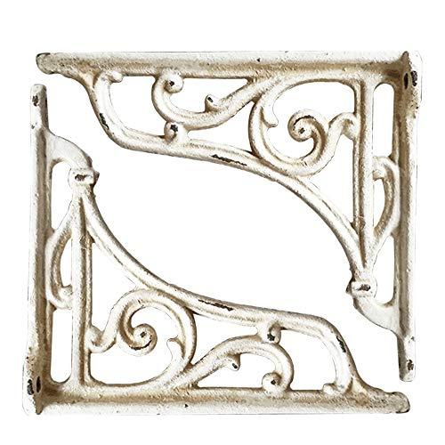 OWUV Soporte de estantes Triangular Vintage (2 Piezas), Hierro Fundido (Hacer lo Viejo Arte), Negro/Blanco/marrón, Escuadras Estanterías Decorativo montado en la Pared, Soporte de Flores