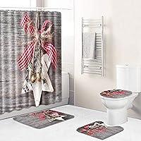 クリスマスのシャワーカーテンセット、滑り止めラグ+ふたトイレカバー+バスマット+ポリエステル防水バスタブのカーテン、サンタキャンディギフト新年バスルームの装飾 santa -45*75