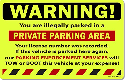 """50 Yellow Fluorescent Warning Private Parking Area! Violation No Parking Towing Car Auto Sign Stickers 8"""" X 5"""""""