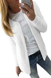 Women Fuzzy Fleece Open Front Cardigan Jacket Outerwear Coat