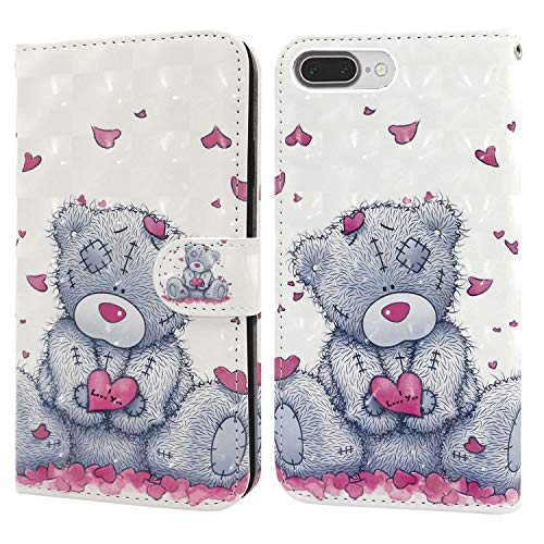 Ailisi Coque pour iPhone 7 Plus/iPhone 8 Plus, Motif 3D Mode Style de Livre Flip Housse en PU Cuir Protection en Stand Support Portefeuille Étui Bumper -Teddy Bear