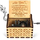 YIUTERA You are My Sunshine Wooden Music Box Mom for Son Laser Engraved Hand Crank Classical Wood Sunshine Musical Box Gifts for Birthday/Christmas/Children's Day (Mom to Son)