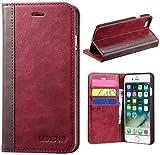 LENSUN iPhone 8 Hülle iPhone 7 Hülle, Handyhülle Handytasche iPhone 8/7 (4.7 Zoll) Leder Huelle Tasche Flip Case Ledertasche Schutzhülle - Wein Rot (7G-FG-WR)