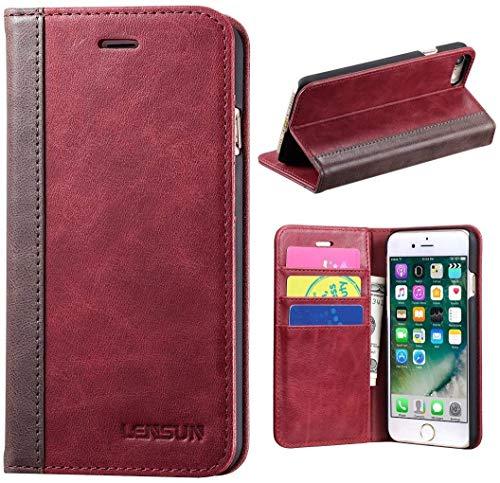 Lensun Cover iPhone SE 2020, Cover iPhone 7, Cover iPhone 8, Vera Pelle Cuoio Custodia Genuino Annata a Portafoglio con Coperchio Apribile per iPhone 7 e iPhone 8 4.7' - Rosso Vino (7G-FG-WR)